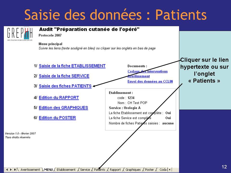 12 Saisie des données : Patients Cliquer sur le lien hypertexte ou sur longlet « Patients »