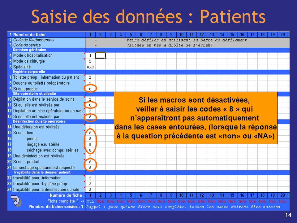 14 Saisie des données : Patients Si les macros sont désactivées, veiller à saisir les codes « 8 » qui napparaîtront pas automatiquement dans les cases