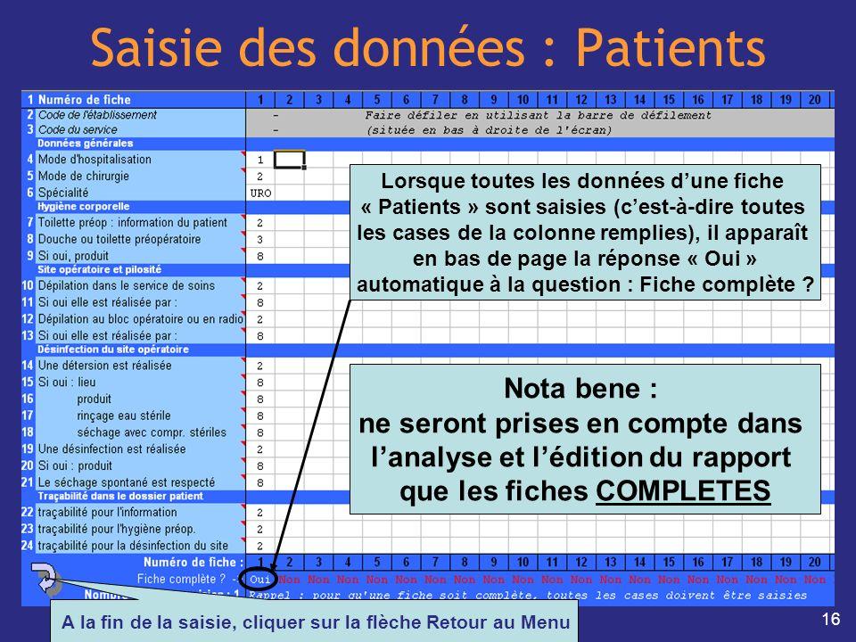 16 Saisie des données : Patients Lorsque toutes les données dune fiche « Patients » sont saisies (cest-à-dire toutes les cases de la colonne remplies)