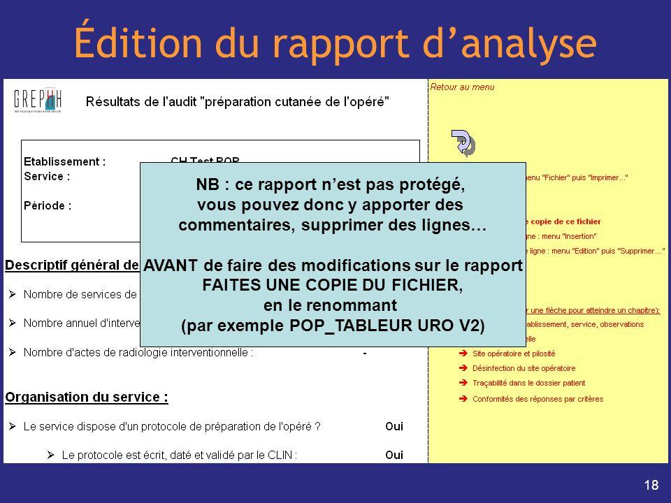 18 Édition du rapport danalyse NB : ce rapport nest pas protégé, vous pouvez donc y apporter des commentaires, supprimer des lignes… AVANT de faire de