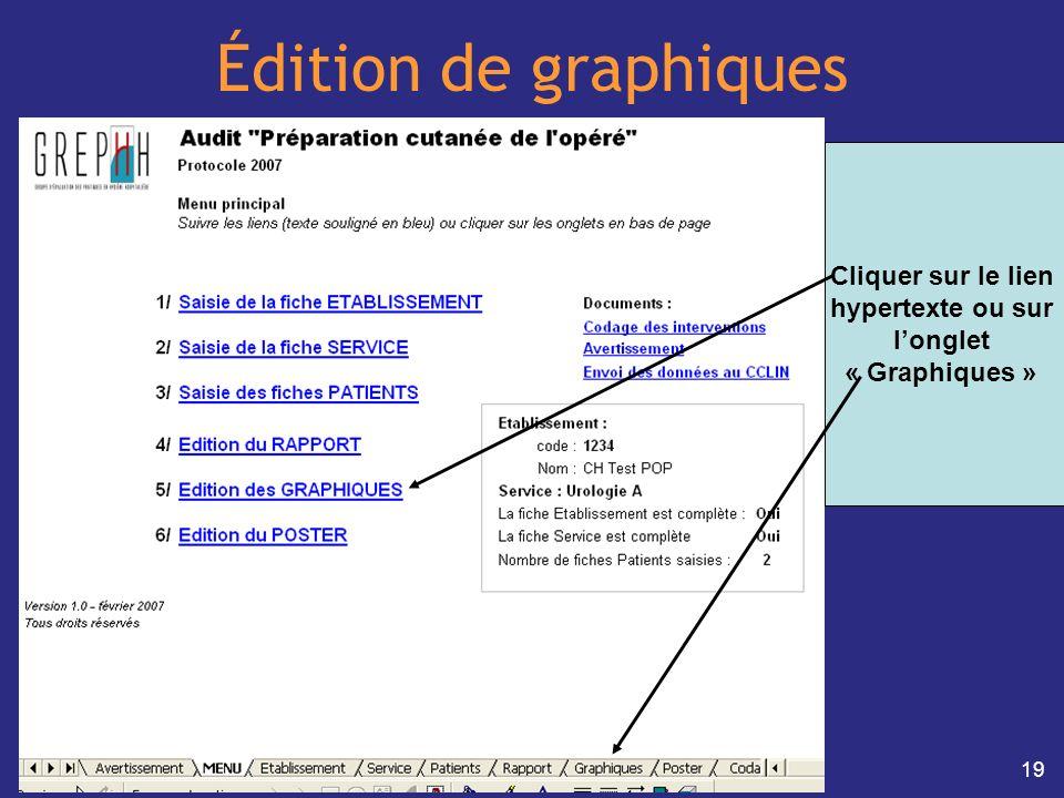 19 Édition de graphiques Cliquer sur le lien hypertexte ou sur longlet « Graphiques »