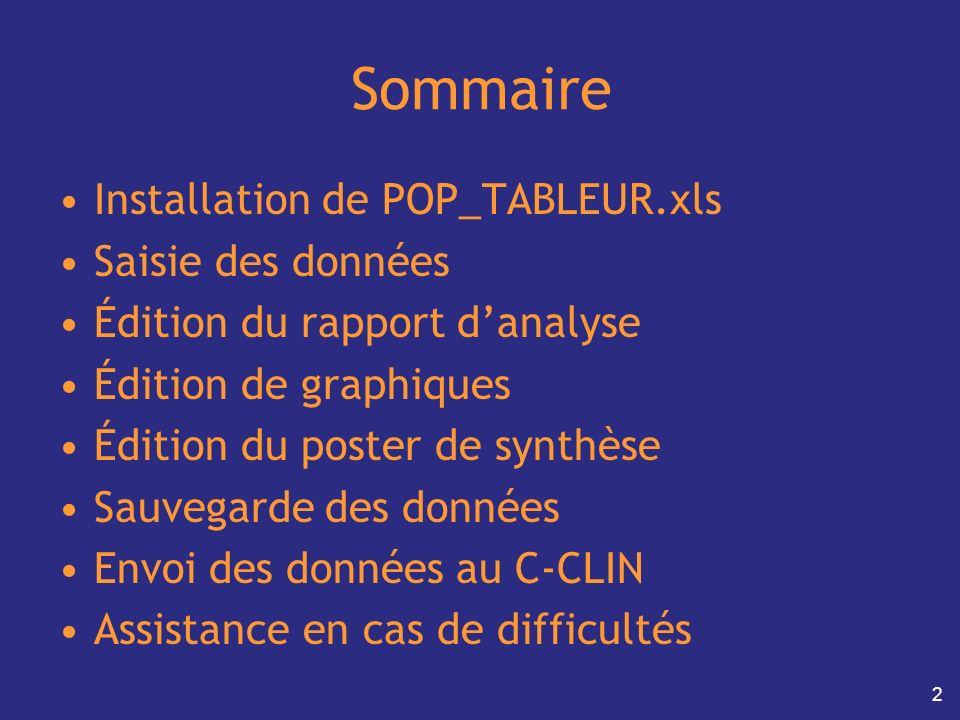 2 Sommaire Installation de POP_TABLEUR.xls Saisie des données Édition du rapport danalyse Édition de graphiques Édition du poster de synthèse Sauvegar