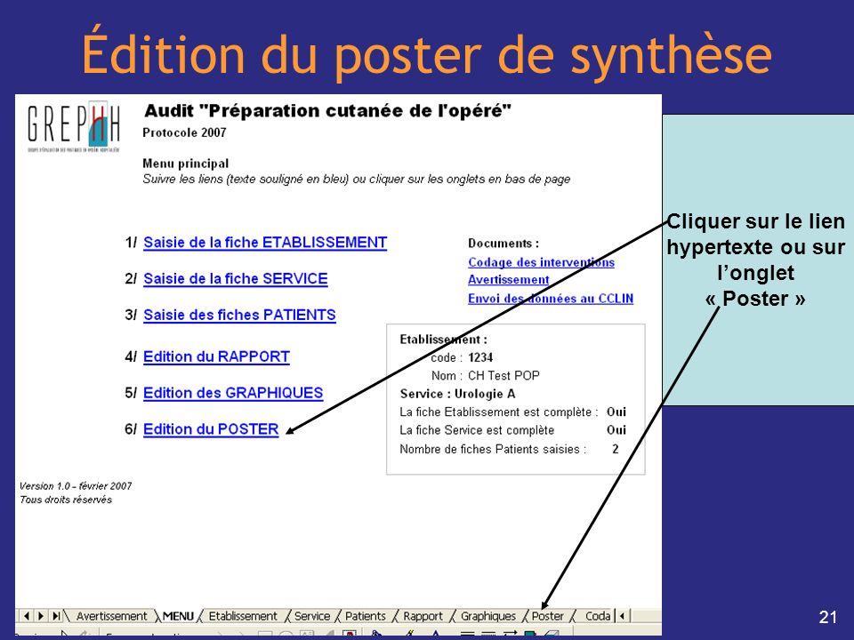 21 Édition du poster de synthèse Cliquer sur le lien hypertexte ou sur longlet « Poster »