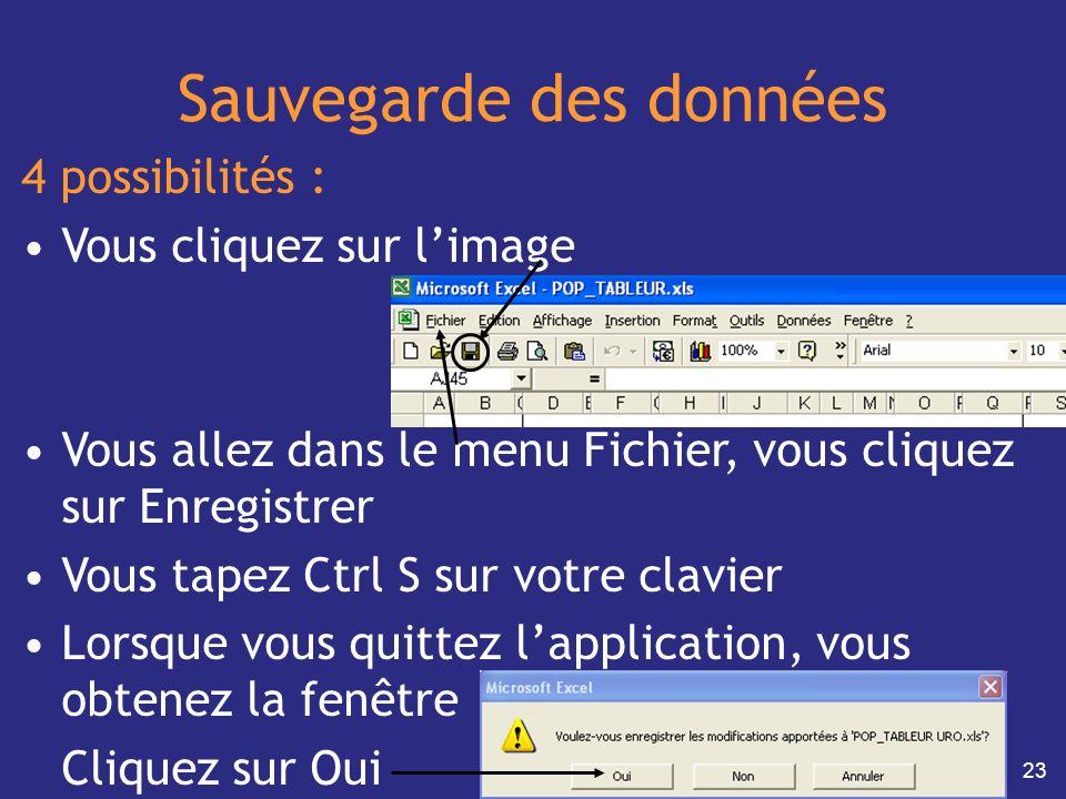 23 Sauvegarde des données 4 possibilités : Vous cliquez sur limage Vous allez dans le menu Fichier, vous cliquez sur Enregistrer Vous tapez Ctrl S sur