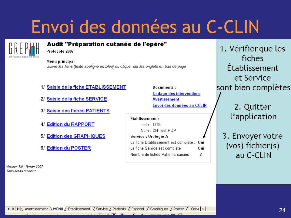 24 Envoi des données au C-CLIN 1. Vérifier que les fiches Établissement et Service sont bien complètes 2. Quitter lapplication 3. Envoyer votre (vos)