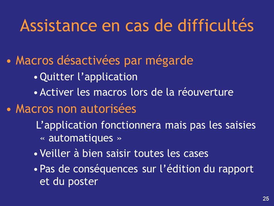 25 Assistance en cas de difficultés Macros désactivées par mégarde Quitter lapplication Activer les macros lors de la réouverture Macros non autorisée