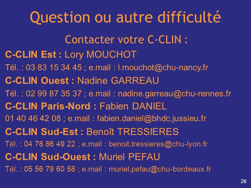 26 Question ou autre difficulté Contacter votre C-CLIN : C-CLIN Est : Lory MOUCHOT Tél. : 03 83 15 34 45 ; e.mail : l.mouchot@chu-nancy.fr C-CLIN Oues