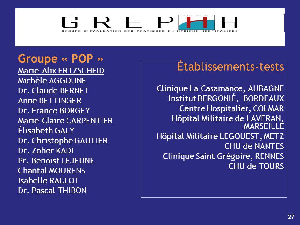 27 Groupe « POP » Marie-Alix ERTZSCHEID Michèle AGGOUNE Dr. Claude BERNET Anne BETTINGER Dr. France BORGEY Marie-Claire CARPENTIER Élisabeth GALY Dr.