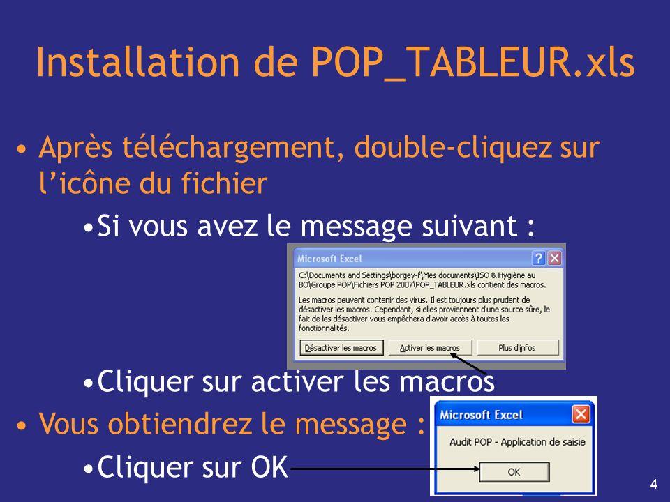 4 Installation de POP_TABLEUR.xls Après téléchargement, double-cliquez sur licône du fichier Si vous avez le message suivant : Cliquer sur activer les