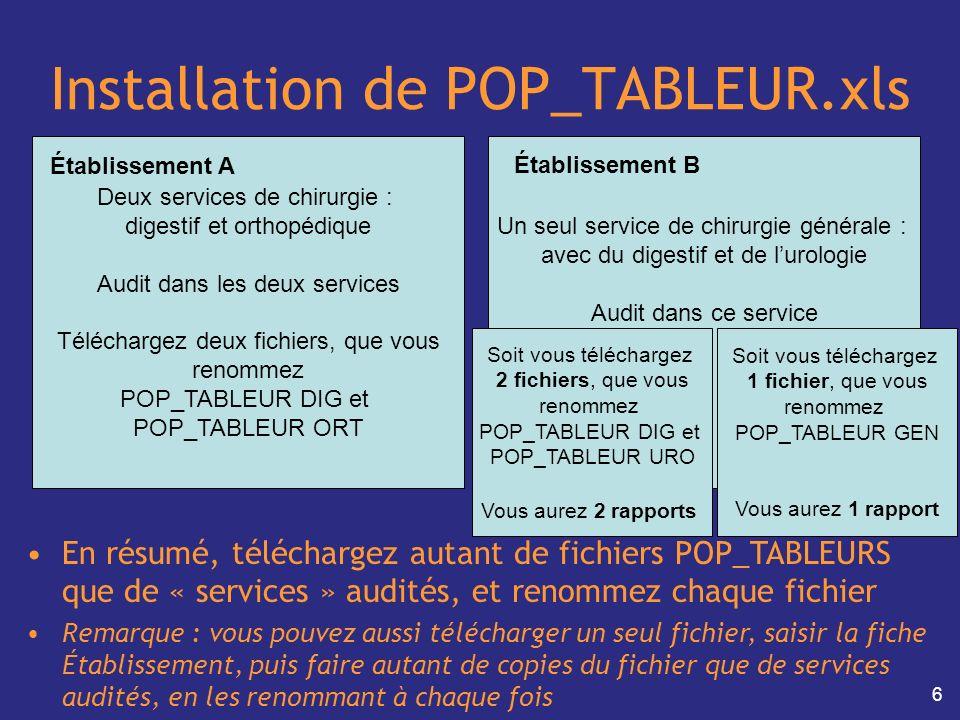 6 Installation de POP_TABLEUR.xls En résumé, téléchargez autant de fichiers POP_TABLEURS que de « services » audités, et renommez chaque fichier Remar