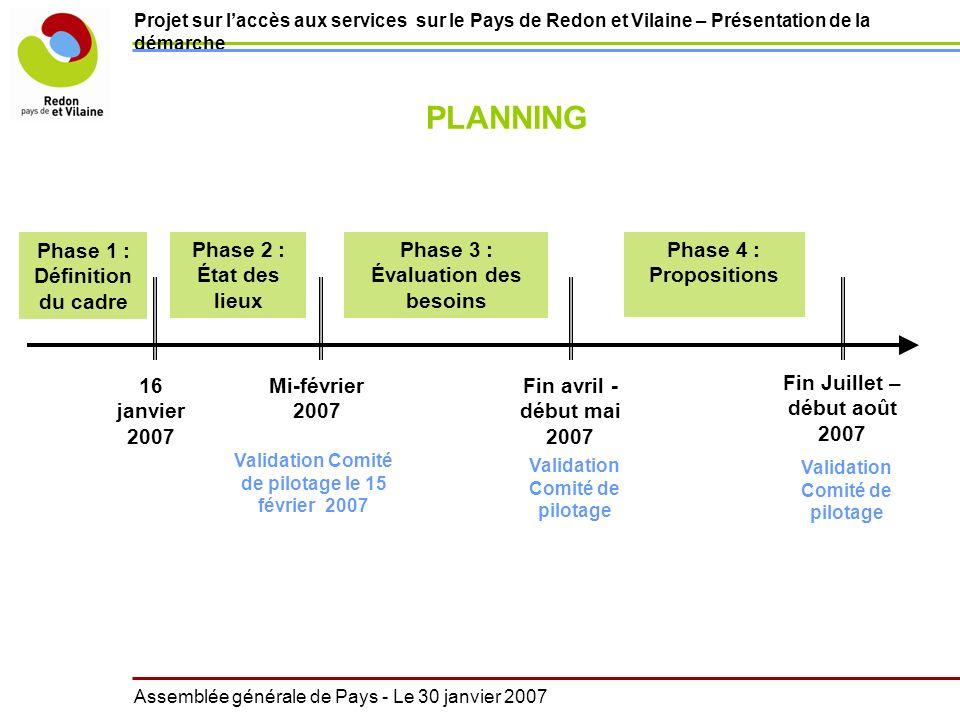 Projet sur laccès aux services sur le Pays de Redon et Vilaine – Présentation de la démarche Assemblée générale de Pays - Le 30 janvier 2007 16 janvie