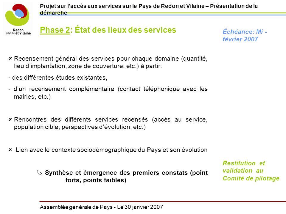 Projet sur laccès aux services sur le Pays de Redon et Vilaine – Présentation de la démarche Recensement général des services pour chaque domaine (qua