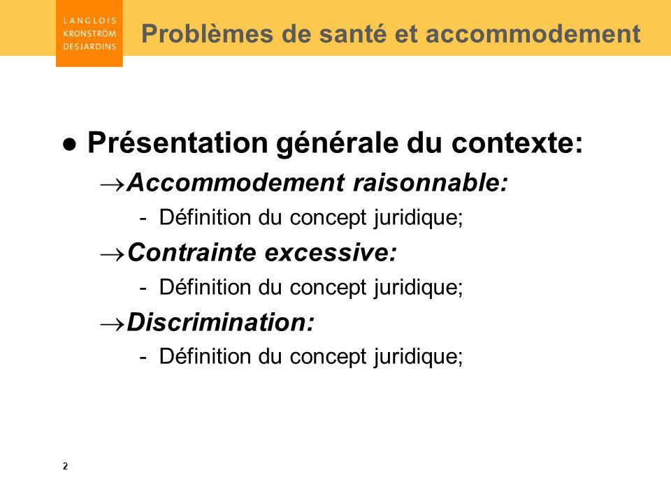 2 Problèmes de santé et accommodement Présentation générale du contexte: Accommodement raisonnable: -Définition du concept juridique; Contrainte excessive: -Définition du concept juridique; Discrimination: -Définition du concept juridique;