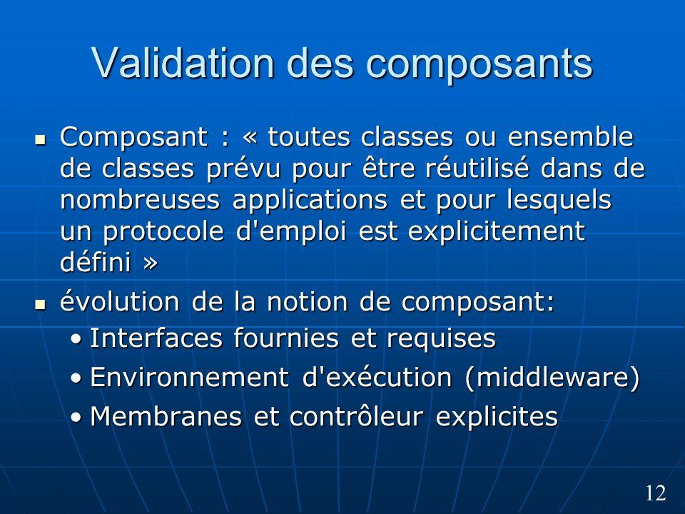 12 Validation des composants Composant : « toutes classes ou ensemble de classes prévu pour être réutilisé dans de nombreuses applications et pour les