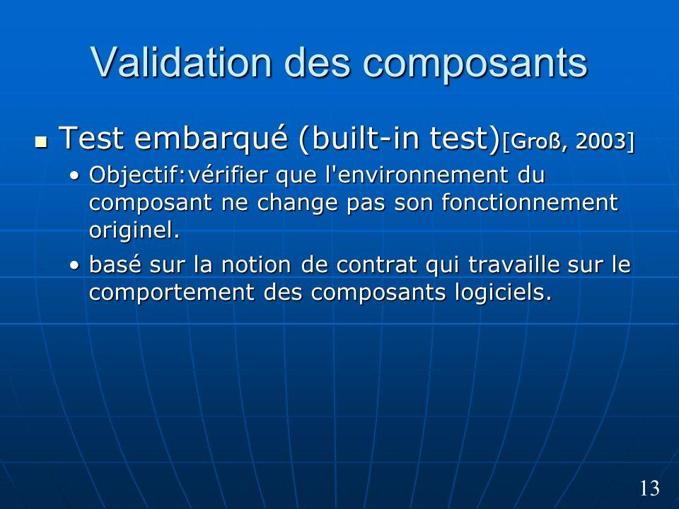 13 Validation des composants Test embarqué (built-in test) [Groß, 2003] Test embarqué (built-in test) [Groß, 2003] Objectif:vérifier que l environnement du composant ne change pas son fonctionnement originel.Objectif:vérifier que l environnement du composant ne change pas son fonctionnement originel.