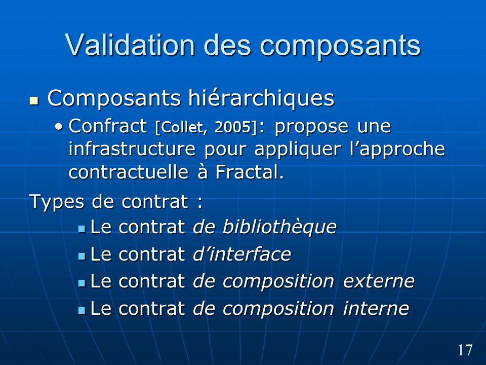 17 Validation des composants Composants hiérarchiques Composants hiérarchiques Confract [Collet, 2005] : propose une infrastructure pour appliquer lapproche contractuelle à Fractal.Confract [Collet, 2005] : propose une infrastructure pour appliquer lapproche contractuelle à Fractal.