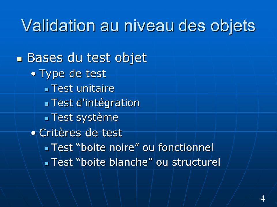 4 Validation au niveau des objets Bases du test objet Bases du test objet Type de testType de test Test unitaire Test unitaire Test d'intégration Test