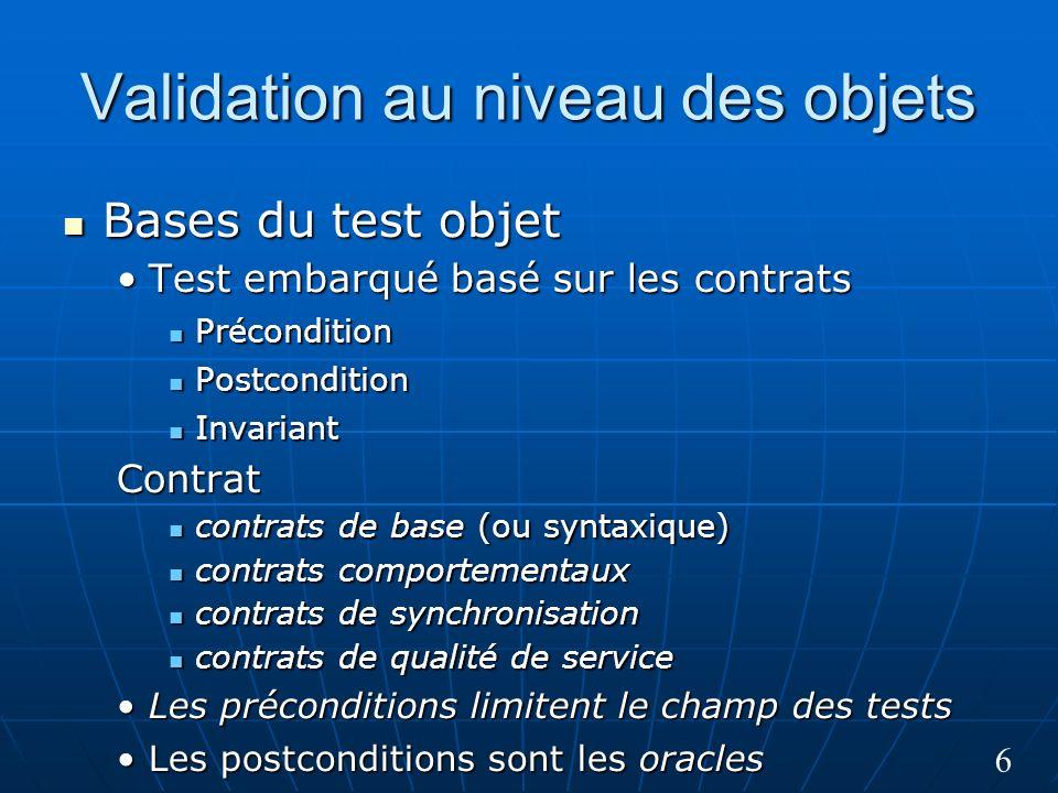 6 Validation au niveau des objets Bases du test objet Bases du test objet Test embarqué basé sur les contratsTest embarqué basé sur les contrats Précondition Précondition Postcondition Postcondition Invariant InvariantContrat contrats de base (ou syntaxique) contrats de base (ou syntaxique) contrats comportementaux contrats comportementaux contrats de synchronisation contrats de synchronisation contrats de qualité de service contrats de qualité de service Les préconditions limitent le champ des testsLes préconditions limitent le champ des tests Les postconditions sont les oraclesLes postconditions sont les oracles