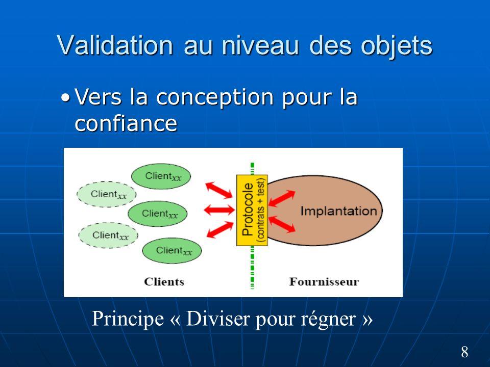 8 Validation au niveau des objets Principe « Diviser pour régner » Vers la conception pour la confianceVers la conception pour la confiance