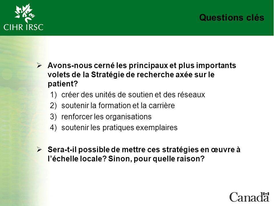 Questions clés Avons-nous cerné les principaux et plus importants volets de la Stratégie de recherche axée sur le patient.