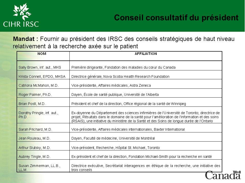 Conseil consultatif du président Mandat : Fournir au président des IRSC des conseils stratégiques de haut niveau relativement à la recherche axée sur le patient