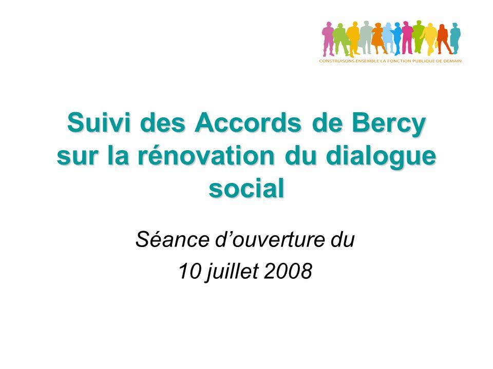 Suivi des Accords de Bercy sur la rénovation du dialogue social Séance douverture du 10 juillet 2008