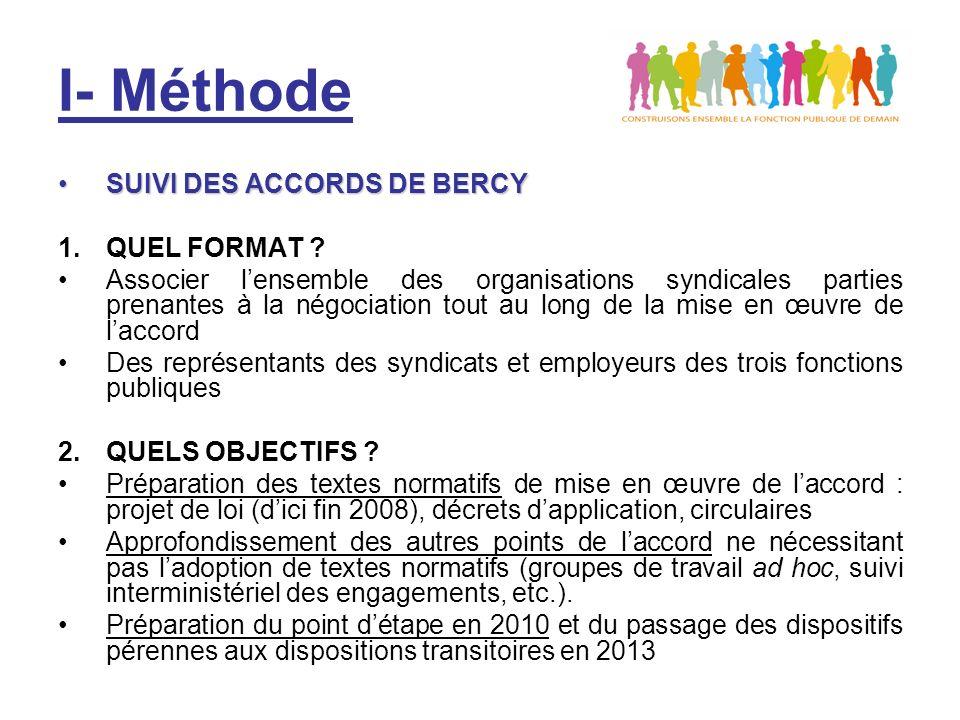 I- Méthode CONSTITUTION DE GROUPES DE TRAVAILCONSTITUTION DE GROUPES DE TRAVAIL Différents groupes de travail sont prévus par laccord : –GT « élections » (p.1) –GT « règles de quorum et procurations » (p.6) –GT « droits syndicaux » (p.11) Des groupes de travail prévus par laccord pour le bilan des dispositifs transitoires en 2010 : –GT « élections CSFP » (p.2&7) –GT « validité des accords » (p.5) Ces différents thèmes pourront être abordés au sein de groupes de travail aux compétences élargies aux autres points de laccord (instances, négociations, représentativité, etc.)
