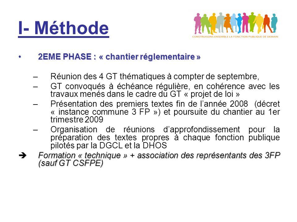 I- Méthode 2EME PHASE : « chantier réglementaire »2EME PHASE : « chantier réglementaire » –Réunion des 4 GT thématiques à compter de septembre, –GT convoqués à échéance régulière, en cohérence avec les travaux menés dans le cadre du GT « projet de loi » –Présentation des premiers textes fin de lannée 2008 (décret « instance commune 3 FP ») et poursuite du chantier au 1er trimestre 2009 –Organisation de réunions dapprofondissement pour la préparation des textes propres à chaque fonction publique pilotés par la DGCL et la DHOS Formation « technique » + association des représentants des 3FP (sauf GT CSFPE) Formation « technique » + association des représentants des 3FP (sauf GT CSFPE)