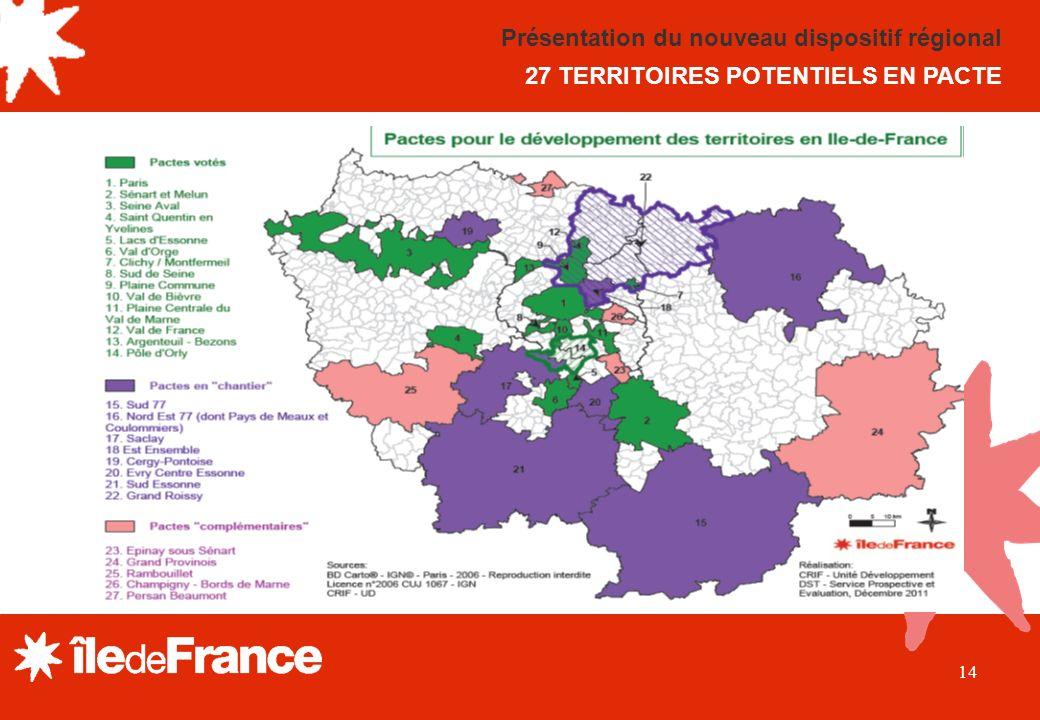 14 Présentation du nouveau dispositif régional 27 TERRITOIRES POTENTIELS EN PACTE