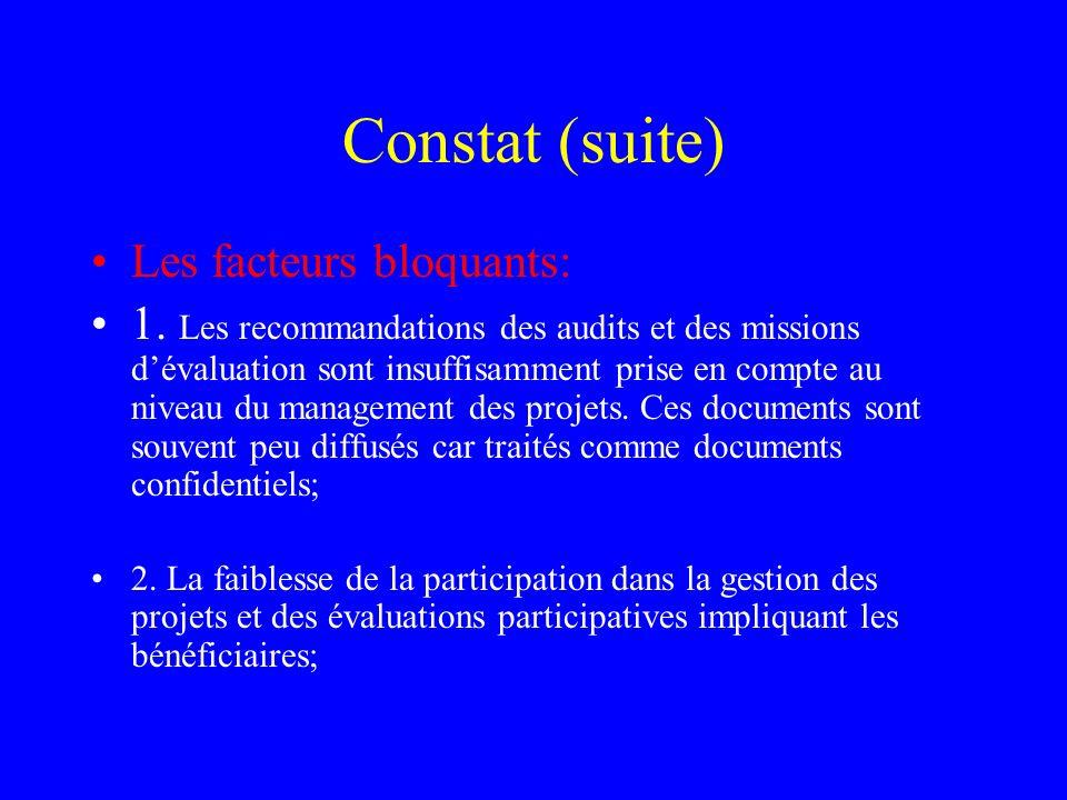 Constat (suite) Les facteurs bloquants: 1. Les recommandations des audits et des missions dévaluation sont insuffisamment prise en compte au niveau du