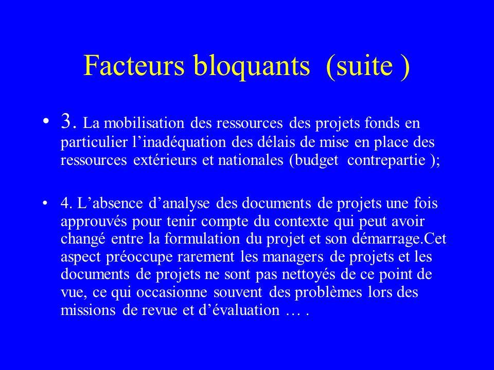 Facteurs bloquants (suite ) 3. La mobilisation des ressources des projets fonds en particulier linadéquation des délais de mise en place des ressource