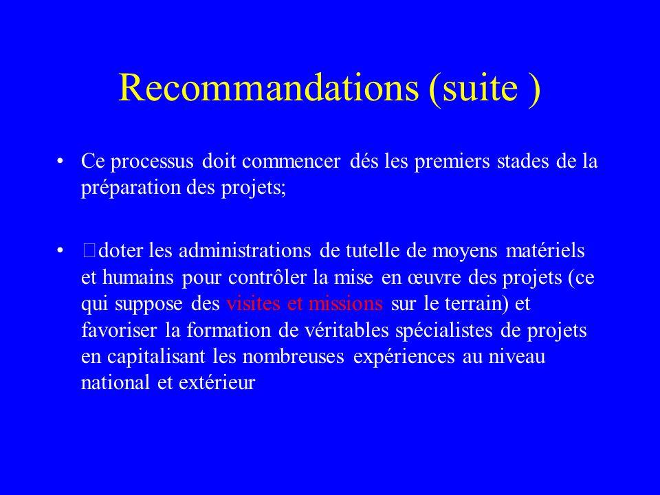 Recommandations (suite ) Ce processus doit commencer dés les premiers stades de la préparation des projets; doter les administrations de tutelle de m