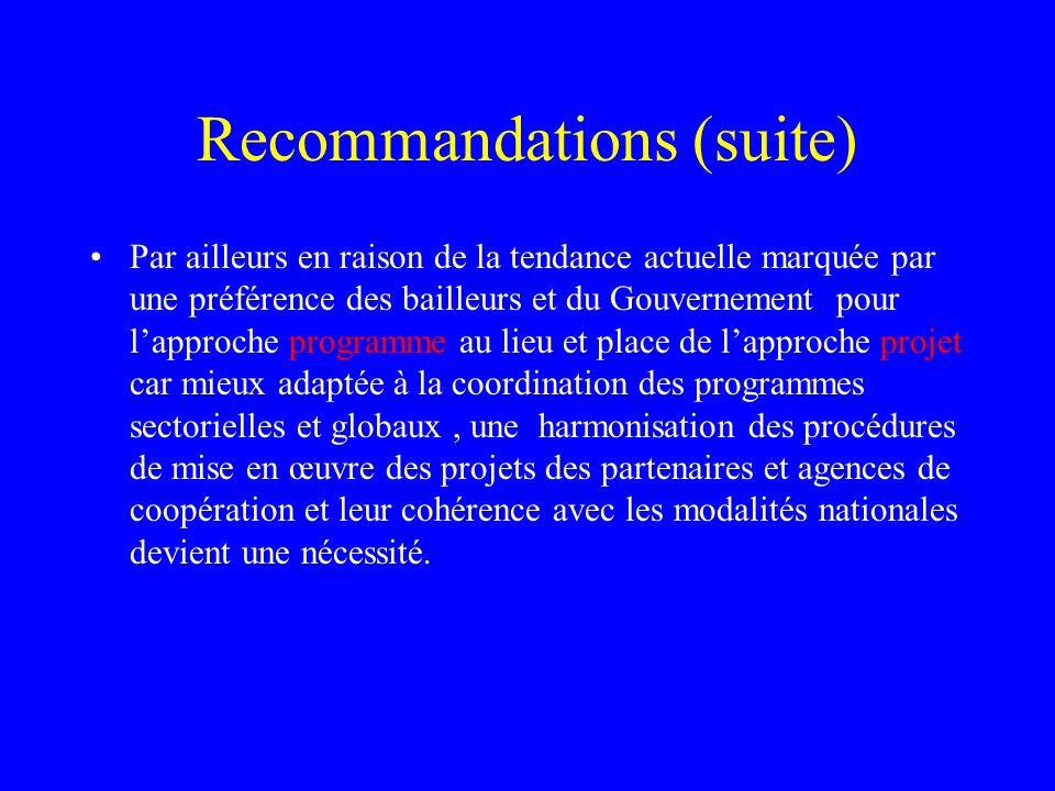 Recommandations (suite) Par ailleurs en raison de la tendance actuelle marquée par une préférence des bailleurs et du Gouvernement pour lapproche prog