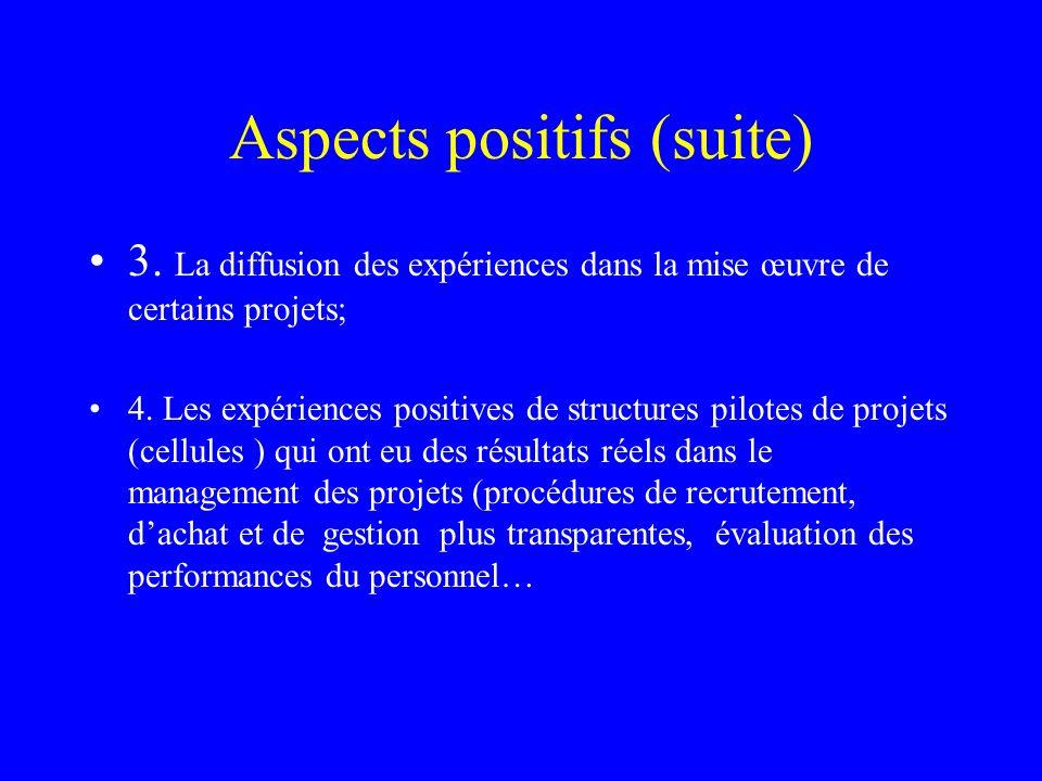 Aspects positifs (suite) 3. La diffusion des expériences dans la mise œuvre de certains projets; 4. Les expériences positives de structures pilotes de