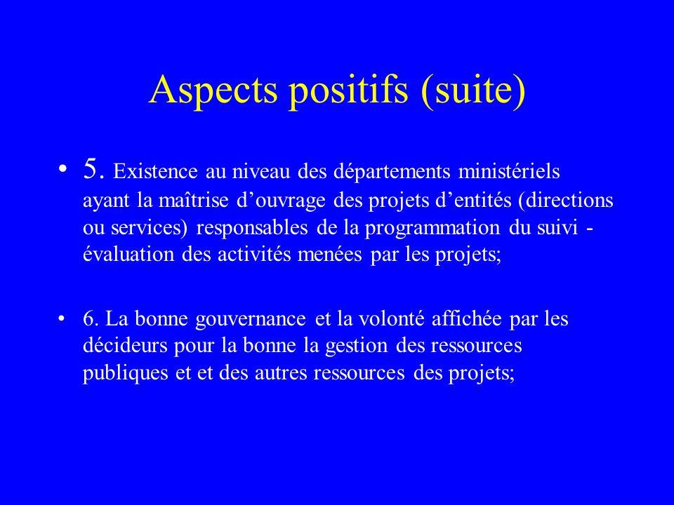 Aspects positifs (suite) 5. Existence au niveau des départements ministériels ayant la maîtrise douvrage des projets dentités (directions ou services)