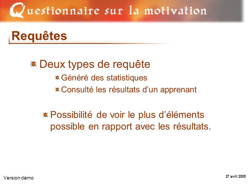 27 avril 2005 Version démo Requêtes Deux types de requête Généré des statistiques Consulté les résultats dun apprenant Possibilité de voir le plus déléments possible en rapport avec les résultats.