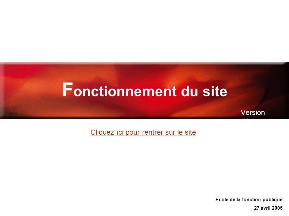 F onctionnement du site Version démo École de la fonction publique 27 avril 2005 Cliquez ici pour rentrer sur le site
