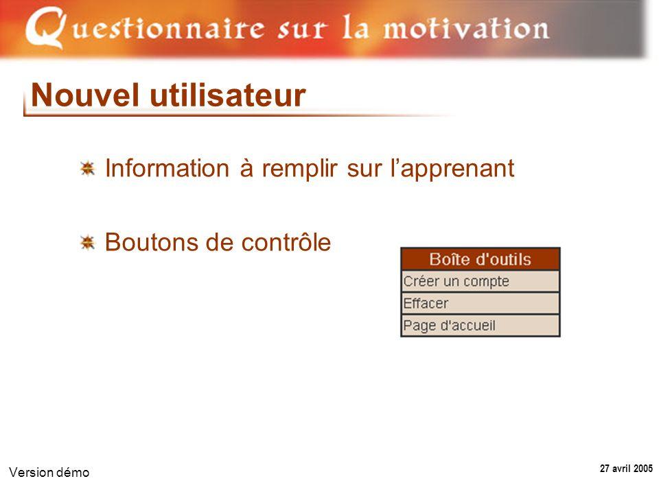 27 avril 2005 Version démo Nouvel utilisateur Information à remplir sur lapprenant Boutons de contrôle