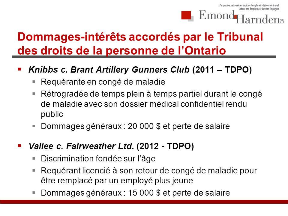 Dommages-intérêts accordés par le Tribunal des droits de la personne de lOntario Knibbs c.