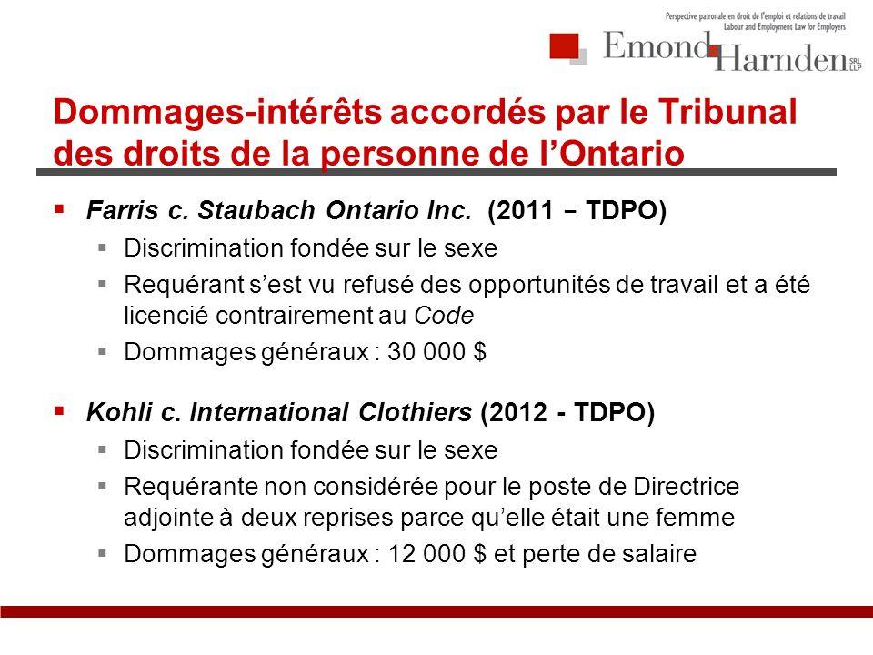 Dommages-intérêts accordés par le Tribunal des droits de la personne de lOntario Farris c.