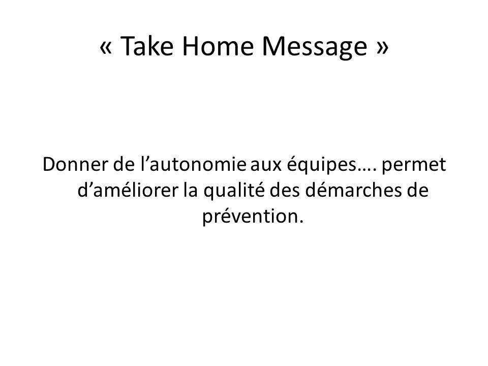 « Take Home Message » Donner de lautonomie aux équipes…. permet daméliorer la qualité des démarches de prévention.