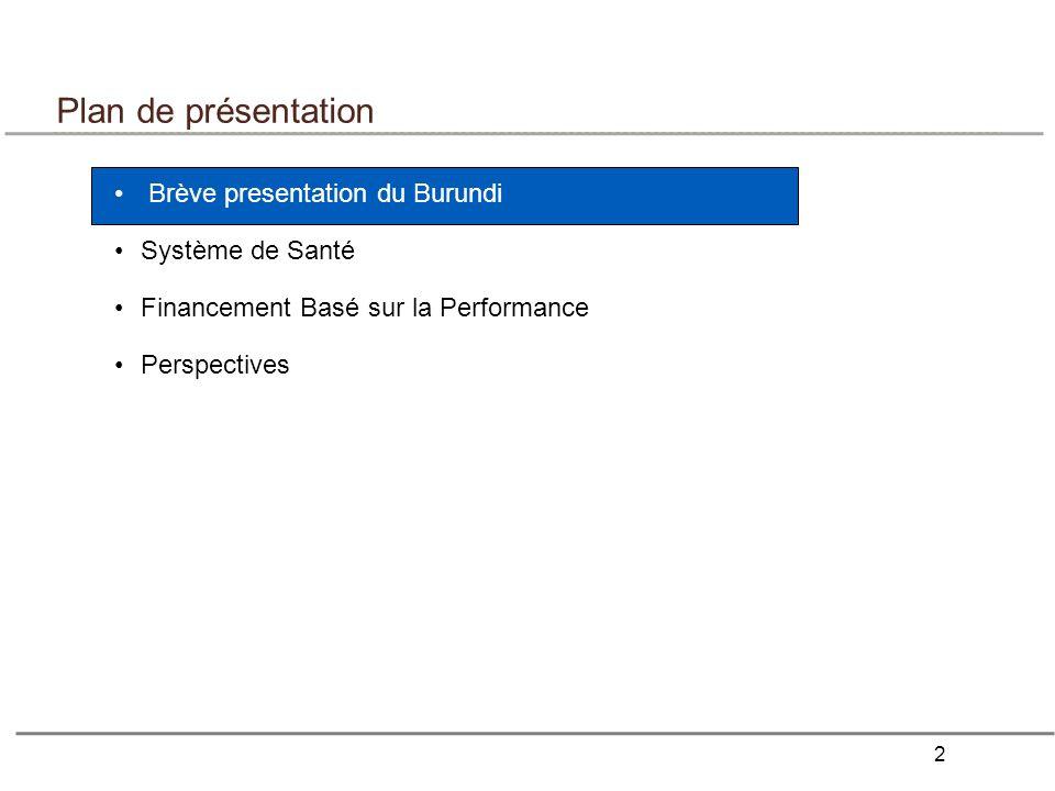 2 Plan de présentation Brève presentation du Burundi Système de Santé Financement Basé sur la Performance Perspectives