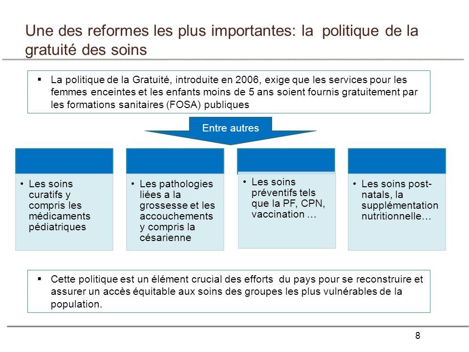 8 Une des reformes les plus importantes: la politique de la gratuité des soins La politique de la Gratuité, introduite en 2006, exige que les services