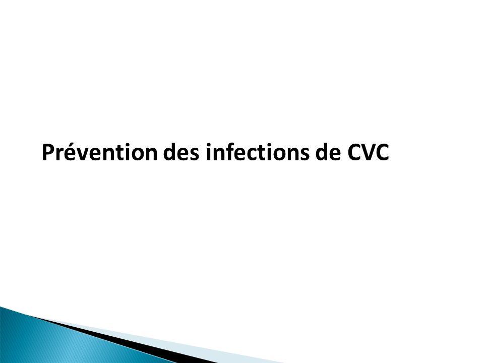 Mesures recommandées par HCSP2010 & CDC2011 avec gradation de la reco Formation et évaluation périodique (IA) Limiter les indications et enlever CVC inutiles (IA) Habillage/asepsie chirurgical (IB) Hygiène des mains: pose, pansements, manipulations (IB) Eviter fémorale (IA), préférer sous clavière (IB) Pose échoguidée suggérée (IB) Remplacer CVC posé dans de mauvaises conditions (IB) Pas de changement systématique (IB) Contrôle visuel ou palpation 1/j (IB)