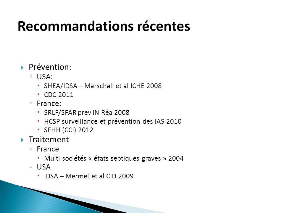 Recommandations récentes Prévention: USA: SHEA/IDSA – Marschall et al ICHE 2008 CDC 2011 France: SRLF/SFAR prev IN Réa 2008 HCSP surveillance et préve