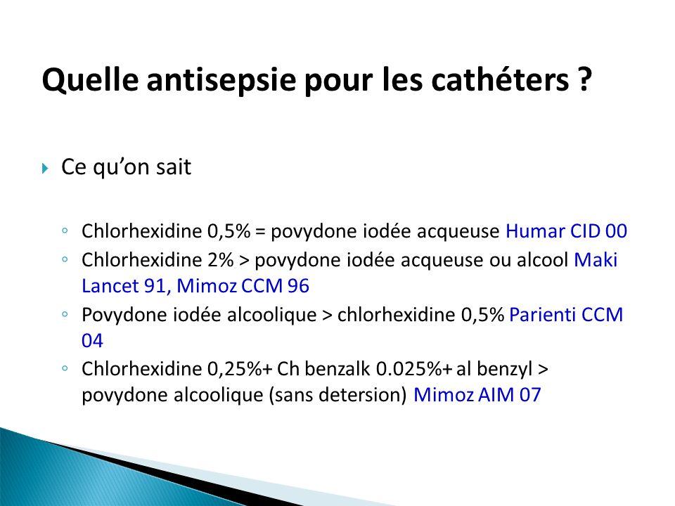 Quelle antisepsie pour les cathéters ? Ce quon sait Chlorhexidine 0,5% = povydone iodée acqueuse Humar CID 00 Chlorhexidine 2% > povydone iodée acqueu