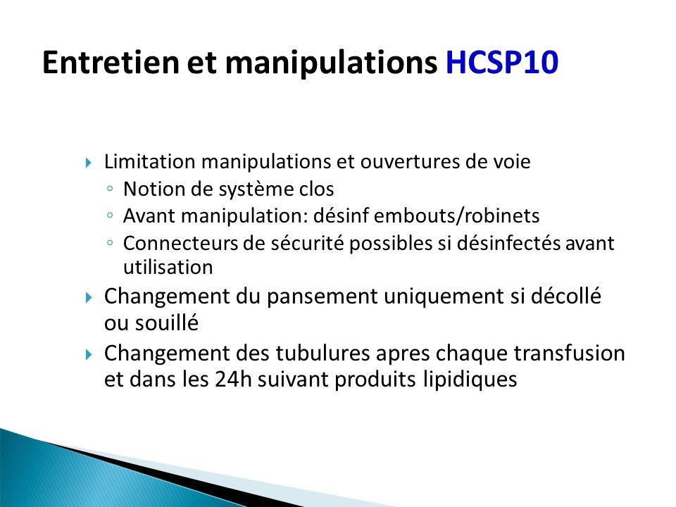 Entretien et manipulations HCSP10 Limitation manipulations et ouvertures de voie Notion de système clos Avant manipulation: désinf embouts/robinets Co