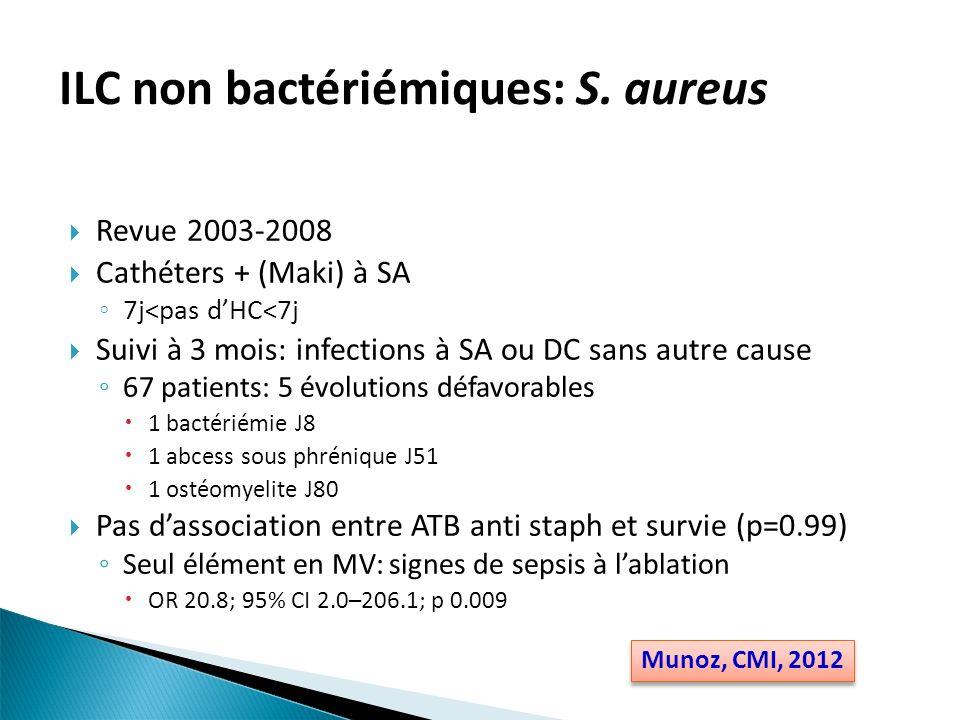 ILC non bactériémiques: S. aureus Revue 2003-2008 Cathéters + (Maki) à SA 7j<pas dHC<7j Suivi à 3 mois: infections à SA ou DC sans autre cause 67 pati