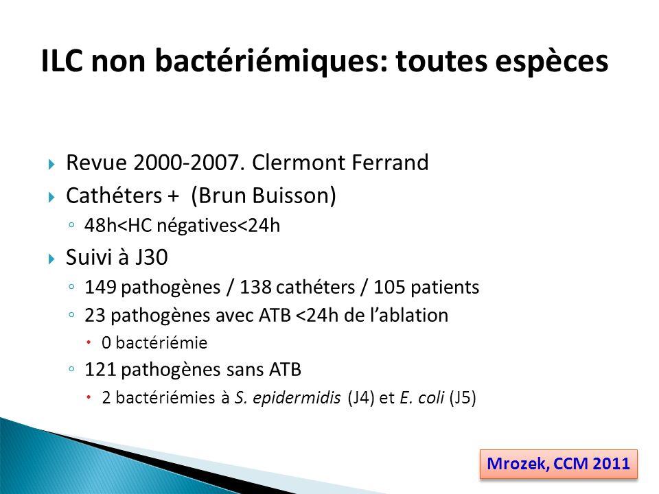 Colonisation à Candida 40% (8/20) de complications si pas dATF vs 44% (13/38) si ATF Tous microorganismes 8 bactériémies/fongémies / 312 cultures (2.6%) 7 sans ATB (12.3% vs 1 avec ATB (1,5%) ILC non bactériémiques: autres Perez-Parra ICM 2009 Park, CMI 2009