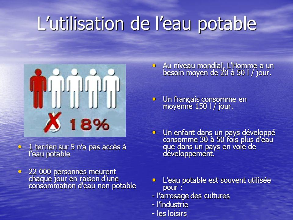 Lutilisation de leau potable 1 terrien sur 5 na pas accès à leau potable 1 terrien sur 5 na pas accès à leau potable 22 000 personnes meurent chaque j